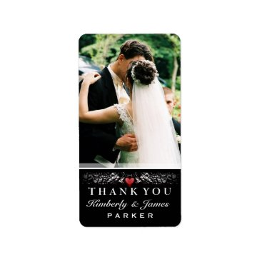 Halloween Themed Black & White Red Heart Wedding Thank You Photo Label