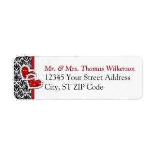 Black White Red Hearts Return Address Label