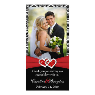 Black White Red Joined Hearts Wedding Photocard Photo Card