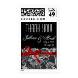 Black White Red Lace Thank You Wedding Postage