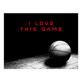 Black & White Red Love Basketball Perfect Poster