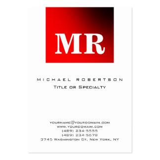 Black White Red Minimalist Monogram Business Card