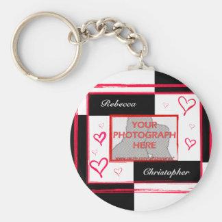 Black white red modern love heart photo frame basic round button keychain
