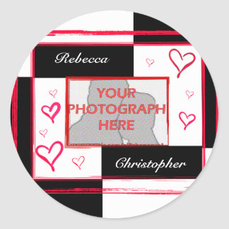 Black white red modern love heart photo frame classic round sticker