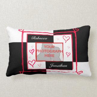 Black white red modern love heart photo frame throw pillows