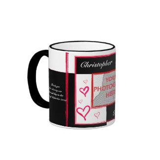 Black white red modern love heart photo frame ringer mug