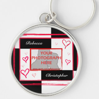 Black white red modern love heart photo frame Silver-Colored round keychain