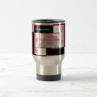 Black white red modern love heart photo frame travel mug