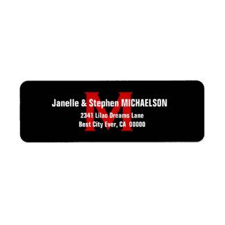 Black White Red Modern Monogram Ver 3 S306 Custom Return Address Label