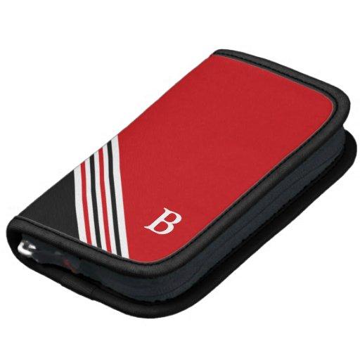 Black White Red Monogram Planner