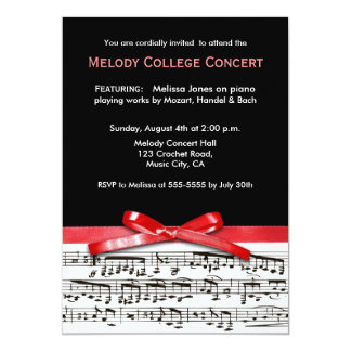 Black white & red music concert recital invitation