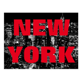 Black White Red New York City Night Postcard