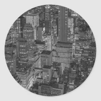 Black White Red New York City Skyline Classic Round Sticker
