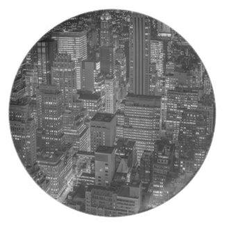 Black White Red New York City Skyline Dinner Plate