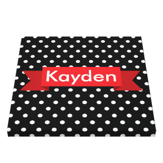 Black White Red Polka Custom Gallery Wrapped Canvas
