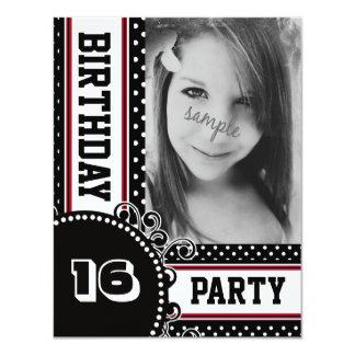 Black White Red Polka Dot Girl's Party Photo 4.25x5.5 Paper Invitation Card