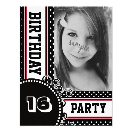 Black White Red Polka Dot Girl's Party Photo Announcements