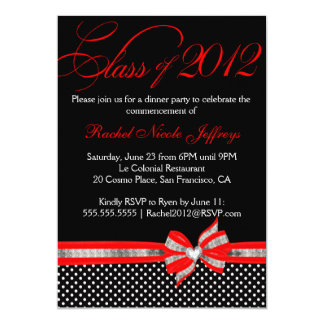 Black White Red Polka Dot Graduation Invitation