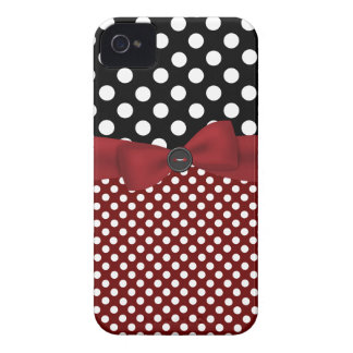 Black, White, & Red Polka Dot iPhone 4 Case