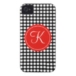 Black, White & Red Polka Dots Custom Initial iPhone 4 Cases