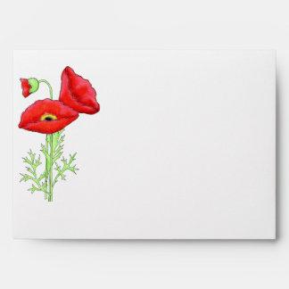 Black White Red Poppy Chevron Ziz Zag Matching Envelopes