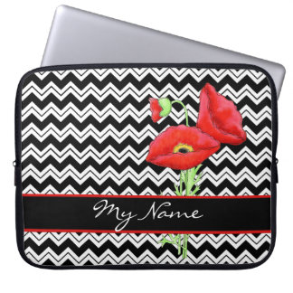 Black & White Red Poppy Zizzag Chevron Customized Laptop Sleeve