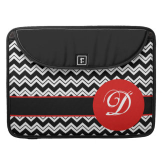 Black & White Red Poppy Zizzag Chevron Customized Sleeve For MacBook Pro