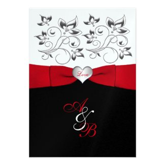 Black White Red PRINTED Ribbon Wedding Invite