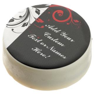Black White Red Reverse Swirl Personalized Chocolate Dipped Oreo