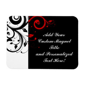 Black White Red Reverse Swirl Personalized Magnet