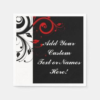Black White Red Reverse Swirl Personalized Napkin