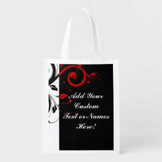 Black White Red Reverse Swirl Personalized Reusable Grocery Bag