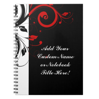 Black White Red Reverse Swirl Personalized Spiral Notebook