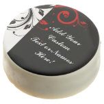 Black White Red Reverse Swirl Personalized Chocolate Dipped Oreo