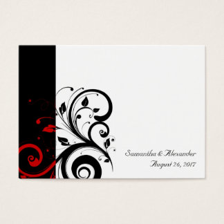 Black, White,Red Reverse Swirl PlaceCards, Written Business Card