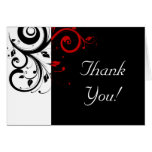 Black   White / Red Reverse Swirl Thank You Cards