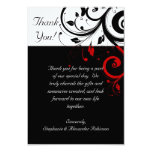 Black/White/Red Reverse Swirl Thank You Note Cards