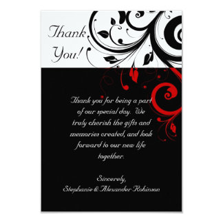 """Black/White/Red Reverse Swirl Thank You Note Cards 3.5"""" X 5"""" Invitation Card"""