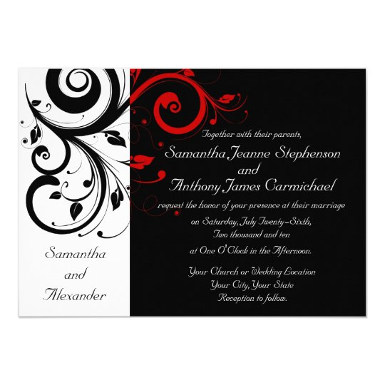 Black/White/Red Reverse Swirl Wedding Invitations | Zazzle.com