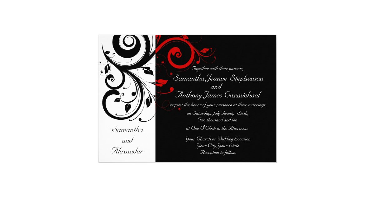 White And Red Wedding Invitations: Black/White/Red Reverse Swirl Wedding Invitations