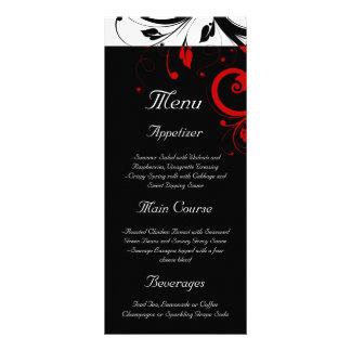 Black, White, Red Reverse Swirl Wedding Menu
