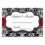 Black/White/Red Ribbon Damask Wedding Business Card Template