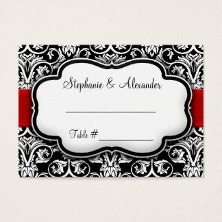 Black/White/Red Ribbon Damask Wedding Business Card