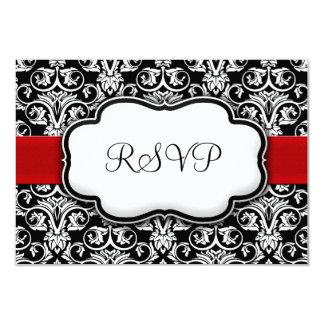 Black/White/Red Ribbon Damask Wedding RSVP Reply 3.5x5 Paper Invitation Card