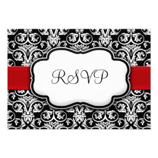 Black White Red Ribbon Damask Wedding RSVP Reply Personalized Announcements