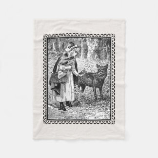 Black White Red Riding Hood Drawing With Wolf Fleece Blanket