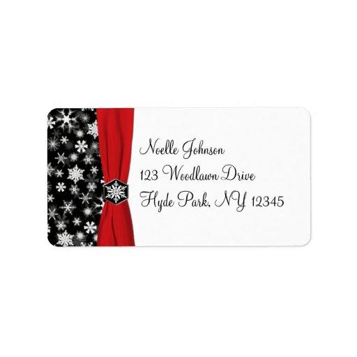 Black, White, Red Snowflakes Address Label