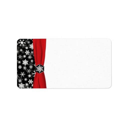 Black, White, Red Snowflakes Blank Address Label