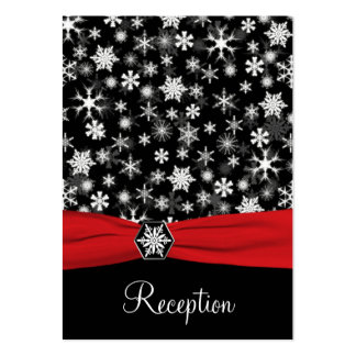Black, White, Red Snowflakes Enclosure Card Large Business Card