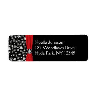 Black, White, Red Snowflakes Return Address Label